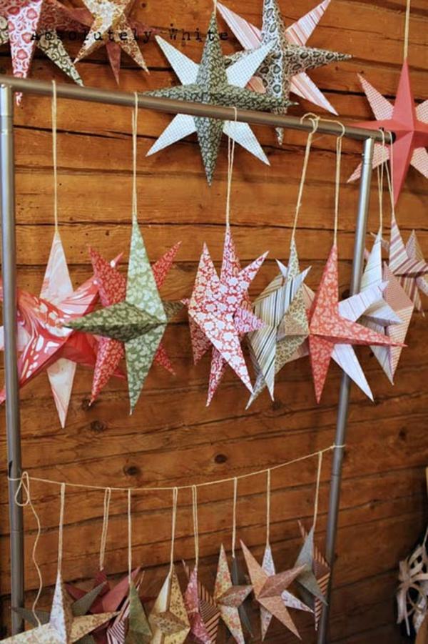 Weihnachtssterne rohr hängend basteln vorlagen kinder papier bunt
