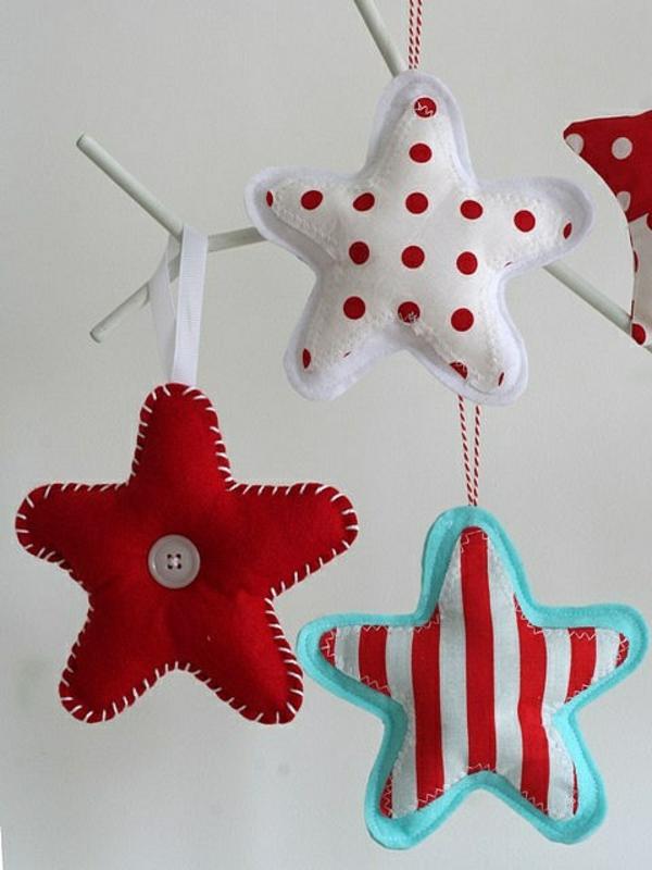 filz muster streifen Weihnachtssterne tupfen basteln vorlagen kinder