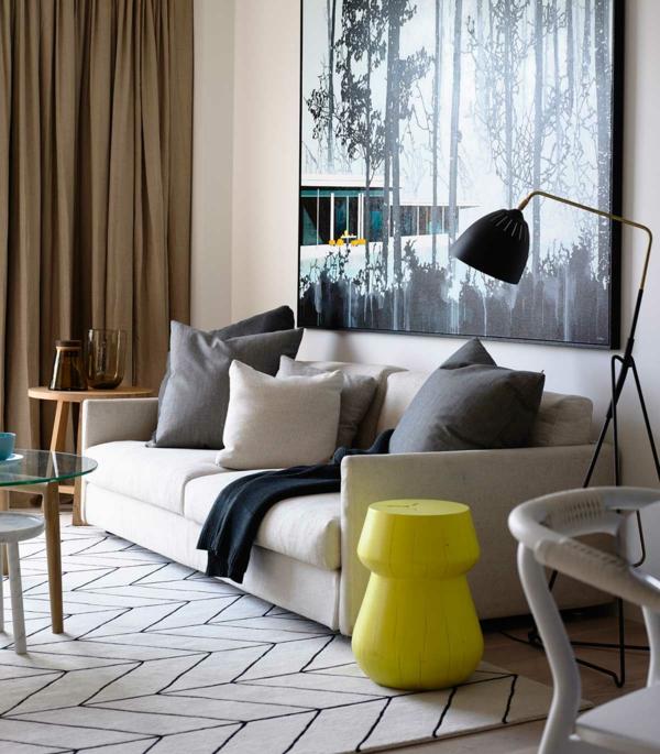 Zimmer Einrichtungsideen einrichtungstipps beistelltisch gelb