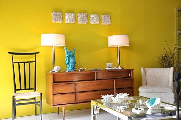 Zimmer grell Einrichtungsideen wohnen kommode gelb