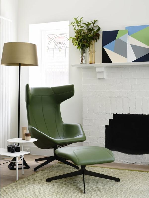 Zimmer stehlampe  Einrichtungsideen wohnen leder grün lounge