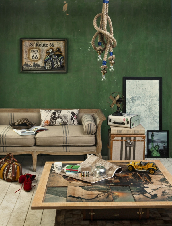 Zimmer wand Einrichtungsideen wohnen smaragdgrün
