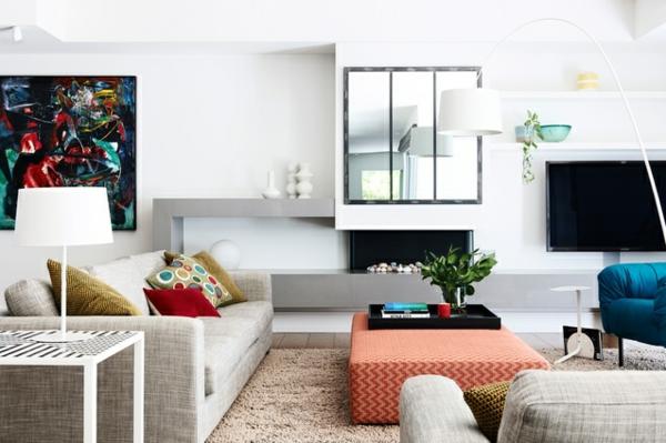 Zimmer polsterung Einrichtungsideen wohnen weiß sofa
