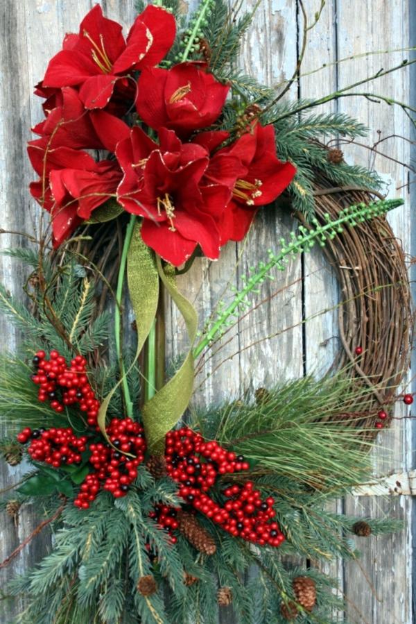 bilder weihnachten blumen adventsgestecke tür