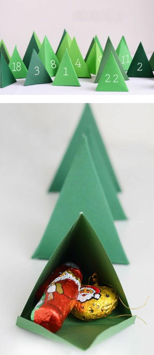 adventskalender selber basteln mit papier grüne tannen