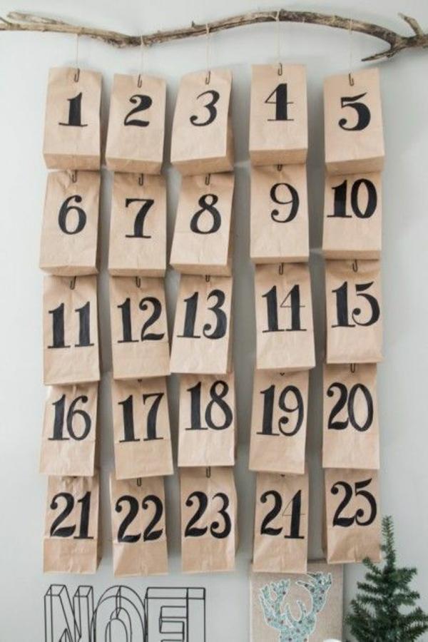 adventskalender selber basteln papiertaschen nummiriert adventskalender füllen