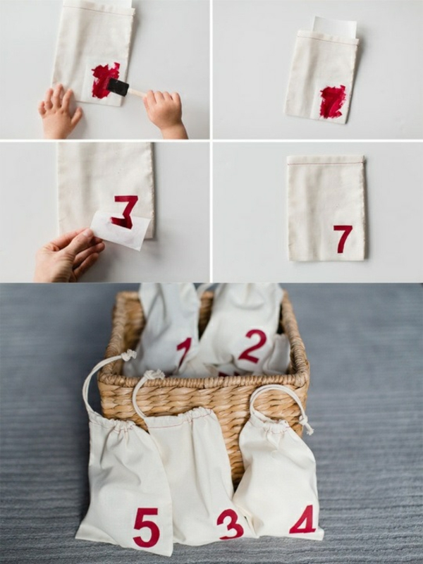 adventskalender selber basteln stofftaschen nummirieren adventskalender füllen