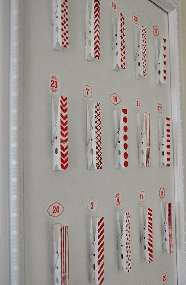 adventskalender selber basteln wäscheklammer weiß rot