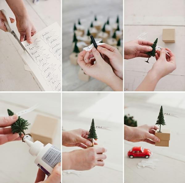 adventskalender selbst gestalten kleine deko tannen kreative bastelideen