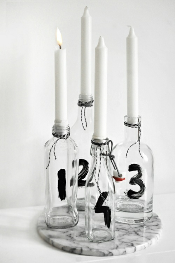adventskränze moderner adventskranz ideen vier kerzen flaschen