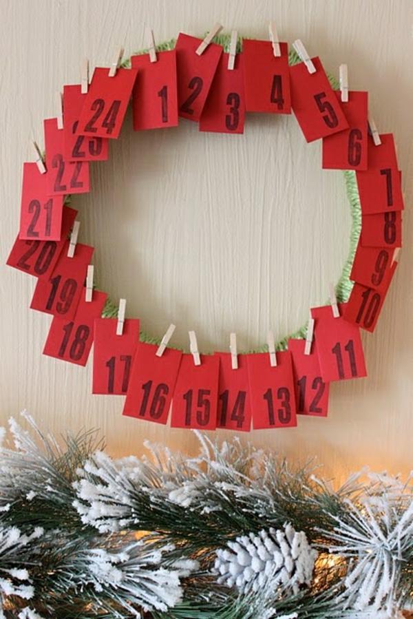 adventskranz hängend weihnachtsdeko ideen adventskalender