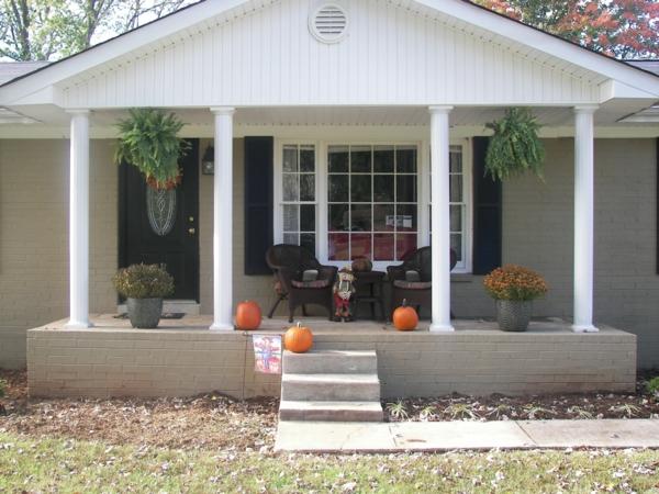 amerikanische holzhäuser halloween deko veranda bauen terassenüberdachung holz