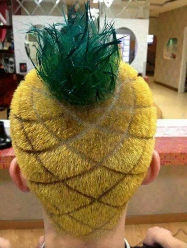 ananas haarschnitt frisur kurz mann gelb