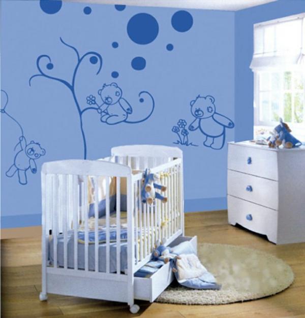 baby zimmer gestalten bärchen blau