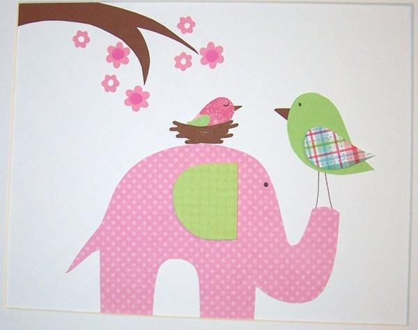 baby zimmer gestalten elefanten vögel wanddeko