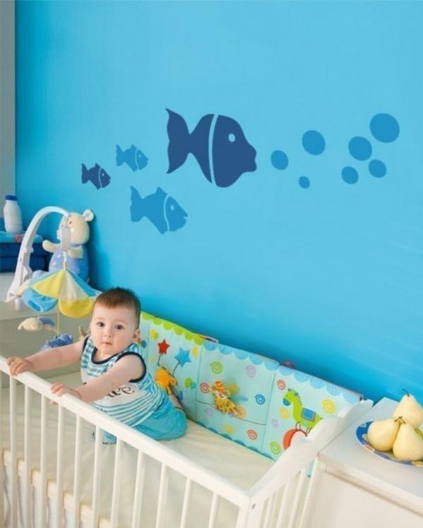 babyzimmer gestalten fische blaue wand