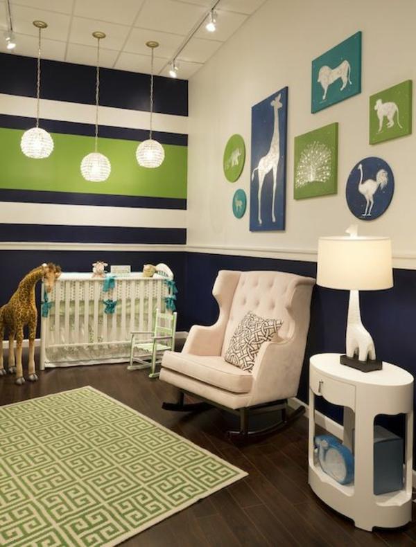 babyzimmer gestalten kinderzimmer blau grün