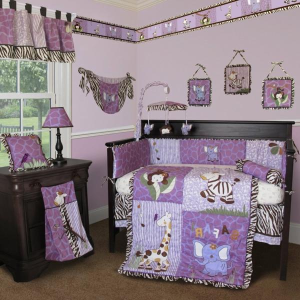 babyzimmer gestalten lila tier motive