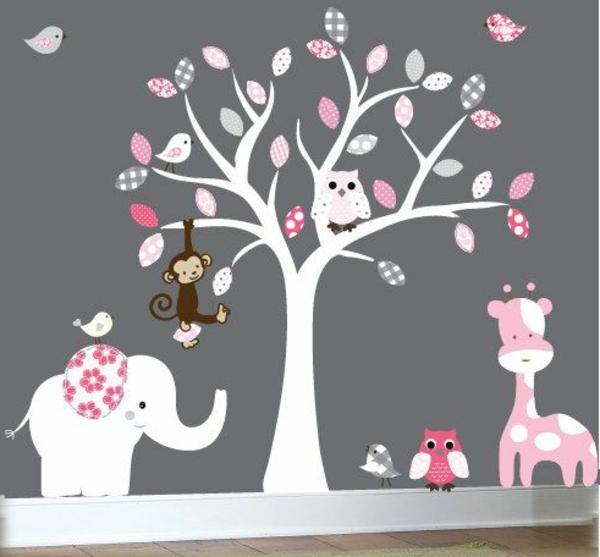 Babyzimmer weiß grau rosa  Babyzimmer Gestalten - süße Tier Muster für Ihre Kleinen