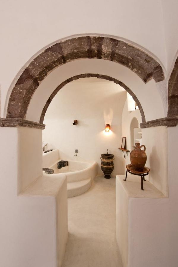 badezimmergestaltung badezimmerfliesen antike urnen arkaden