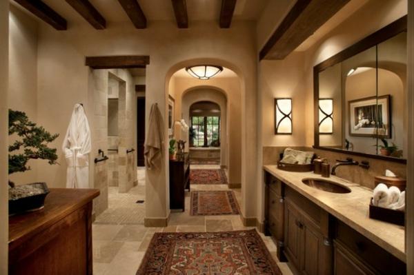 badezimmergestaltung badezimmerfliesen perserteppich deckenbalken