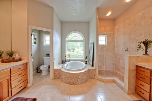 badezimmer gestaltung badezimmerfliesen pflanzen kerzenständer