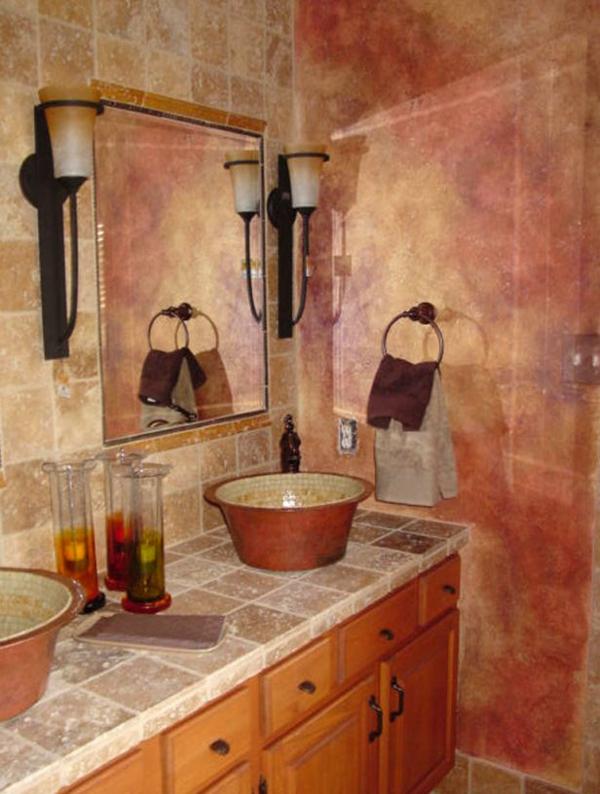 badezimmer gestaltung badezimmerfliesen schüsselförmiges waschbecken