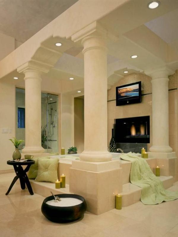 badezimmergestaltung badezimmerfliesen weiße säulen
