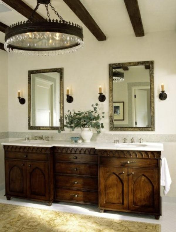 badezimmer gestaltung teppich runder kronleuchter