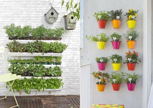 balkon bepflanzen bunte übertöpfe kräutergarten