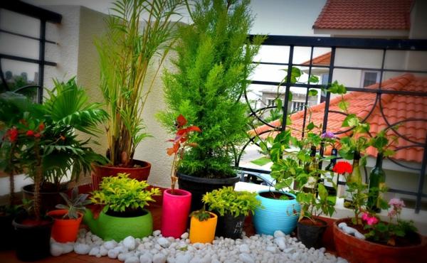 balkon bepflanzen bunte pflanzentöpfe kieselsteine