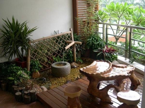 balkon bepflanzen yucca bambaus zen
