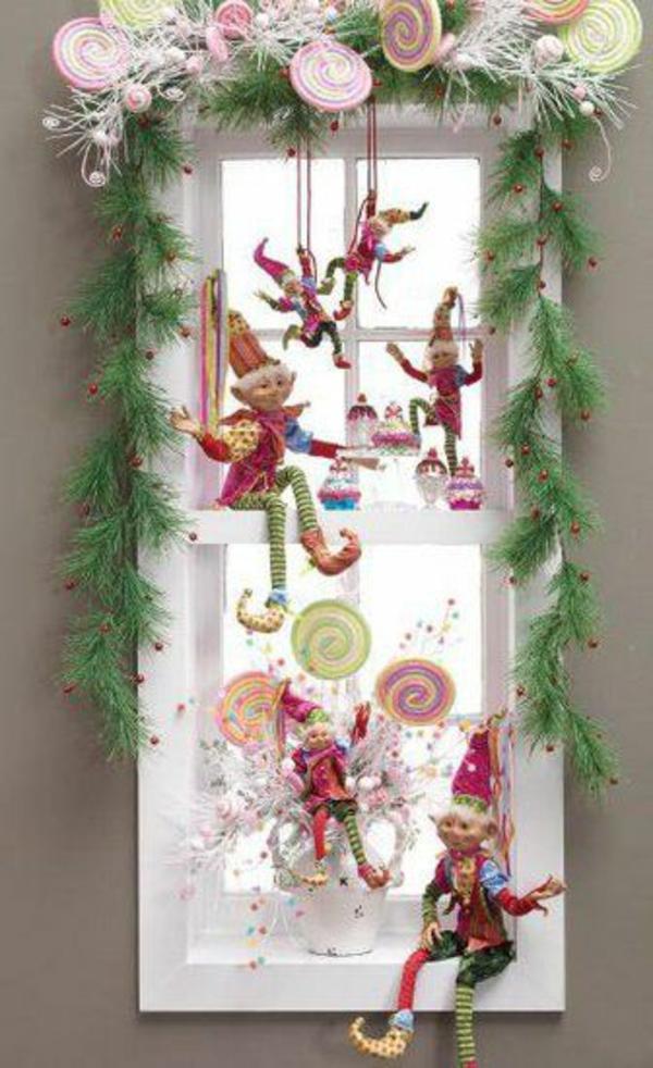 bastelideen Fenster Weihnachtsdeko design