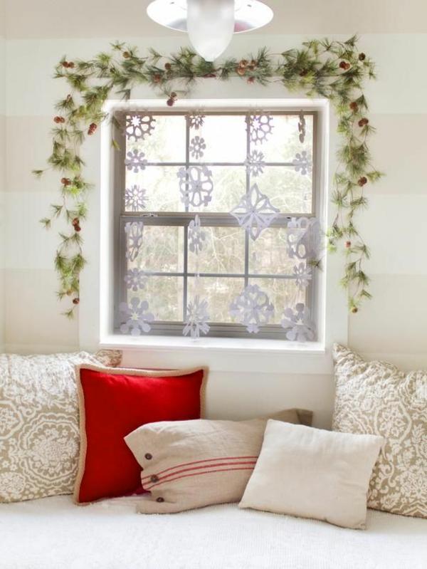 bastelideen streifen wand Fenster Weihnachtsdeko festlich