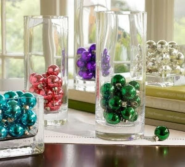 bastelideen für Fenster Weihnachten deko glas