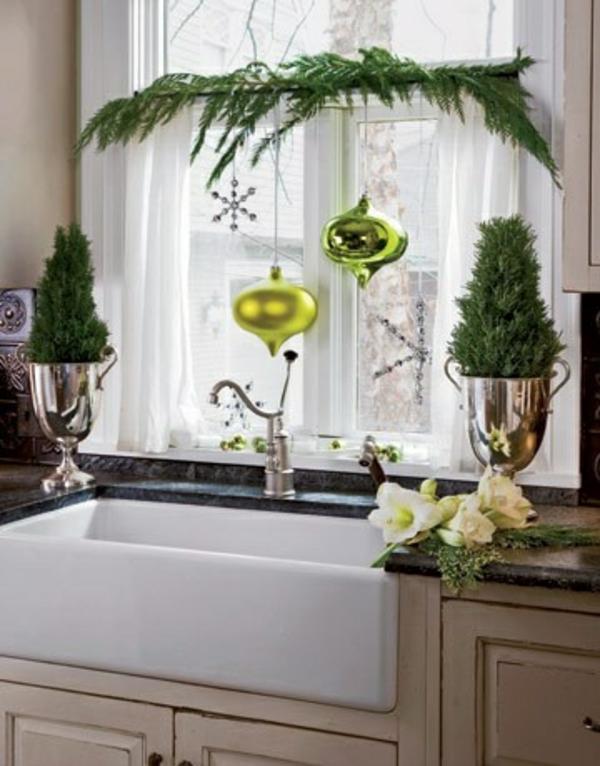 bastelideen Fenster Weihnachtsdeko grün