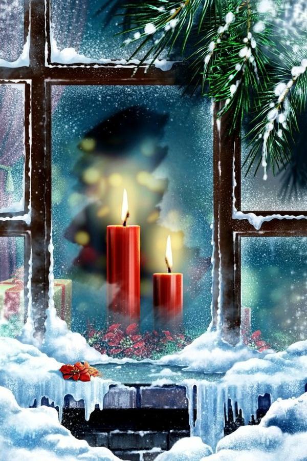 bastelideen für Fenster Weihnachtsdeko kerzen rot