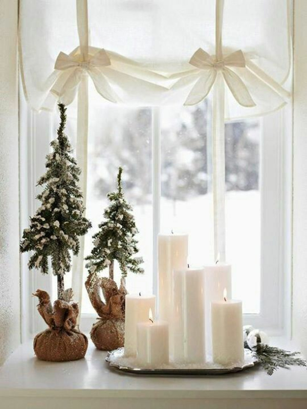 bastelideen für Fenster Weihnachtsdeko kerzen