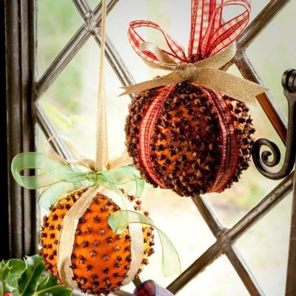 bastelideen für Fenster Weihnachten deko orangen