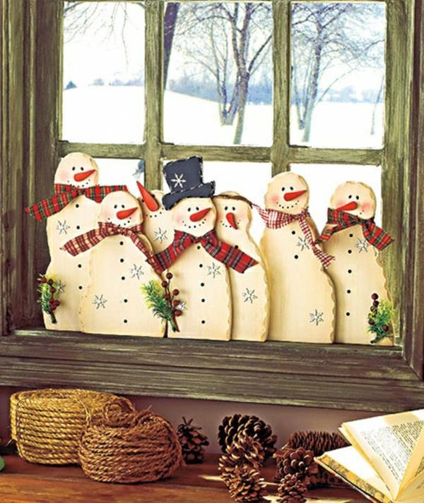bastelideen für Fenster Weihnachten deko schneemann