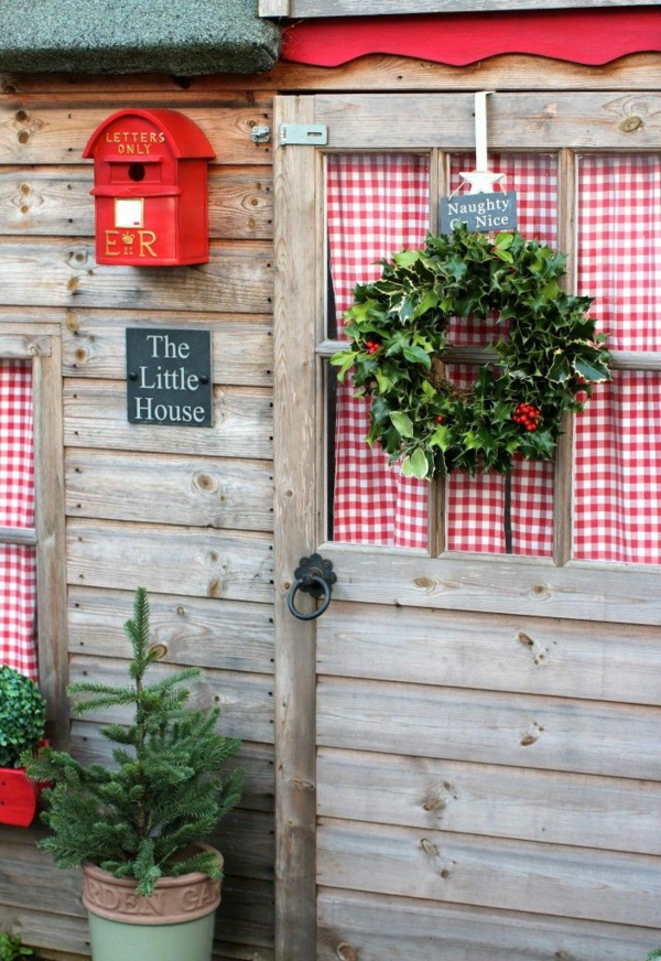 bastelideen für Fenster Weihnachten deko tür