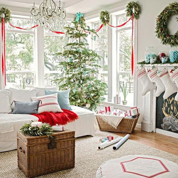 bastelideen für Fenster Weihnachtsdeko wohnzimmer