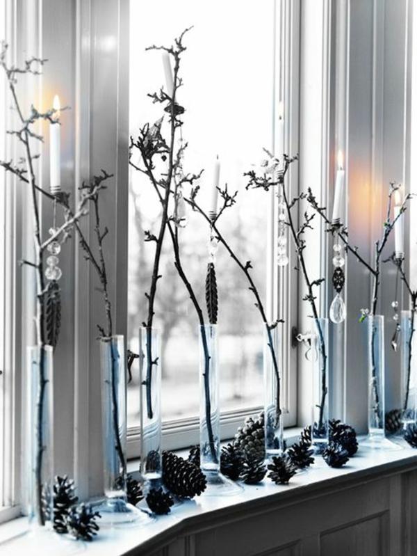 Fenster bastelideen für Weihnachten dekoideen zweige