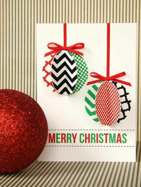 bastelideen für weihnachten weihnachtskarten basteln 3d weihnachtskugeln