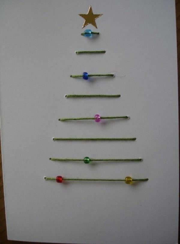 bastelideen für weihnachten weihnachtskarten selber basteln christmasbaum garn schmucksteine