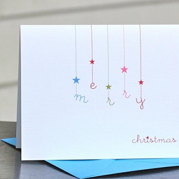 bastelideen für weihnachten weihnachtskarten basteln ganz schlicht
