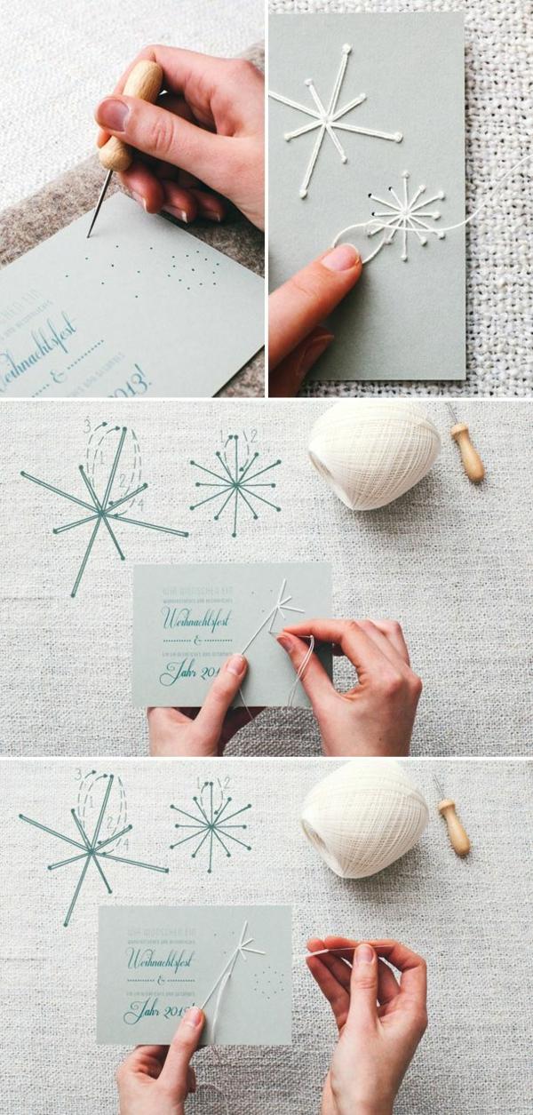 bastelideen für weihnachten weihnachtskarten basteln garn schneeflöckchen