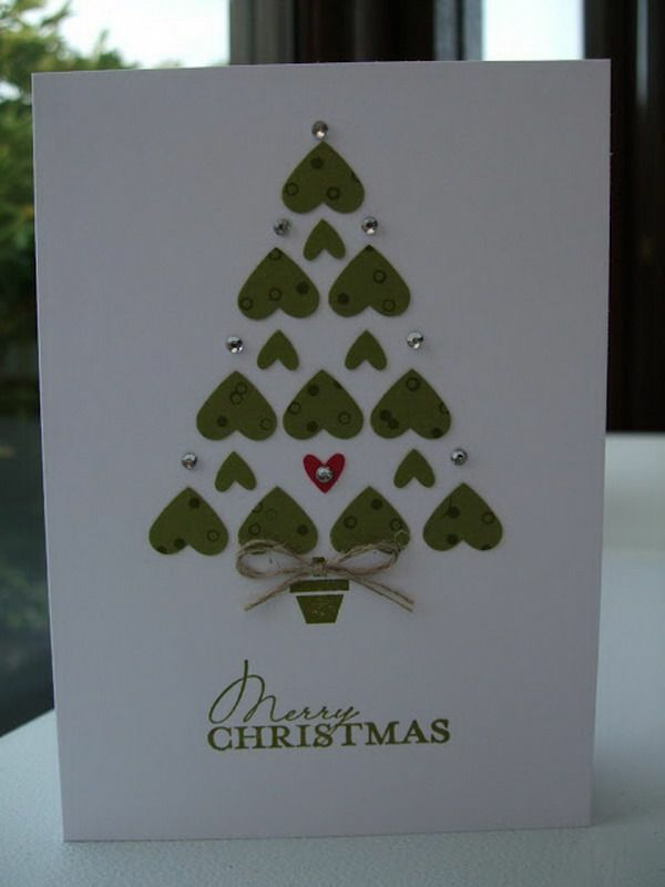 bastelideen für weihnachten weihnachtskarten basteln herzen christmasbaum