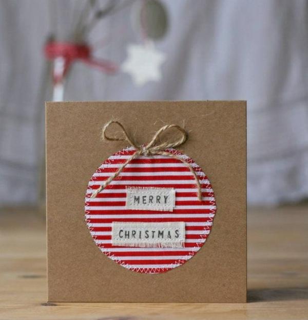 bastelideen für weihnachten weihnachtskarten basteln mit papier und stoff