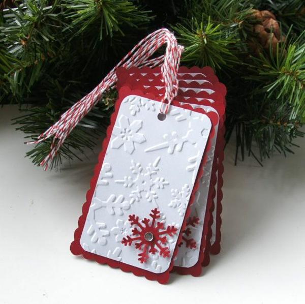 bastelideen für weihnachten weihnachtskarten basteln rot weiß